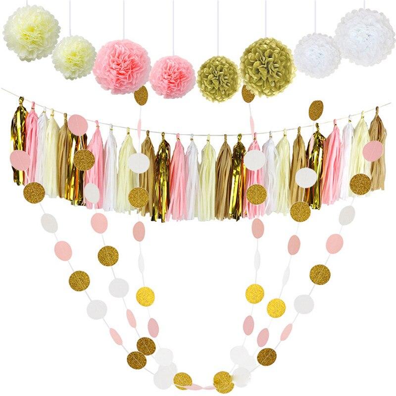 30 Pcs Tissue Paper Pom Poms Flowers Tissue Tassel Garland Polka Dot Paper Garland Kit for Wedding Party Decorations