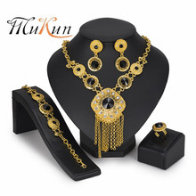 MUKUN 2019 Dubai Gold color Jewelry Sets Luxury Wedding Engagement Party Crystal Necklace Ring Earrings jewelry set