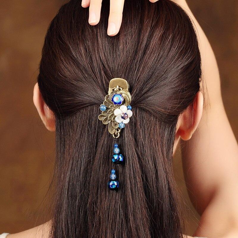 Vintage Bronze alliage paon pince à cheveux naturel coquillage fleur épingle à cheveux couleur glaçure Barrettes cheveux accessoire chinois ethnique He