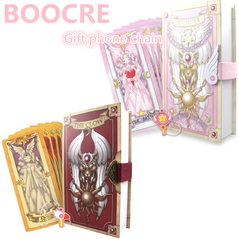 Costume Props Cardcaptor Sakura Card Cosplay Card Captor Kinomoto Tarot Book With Clow Cards Magic Book Set In Box Prop Gift Phone Chain