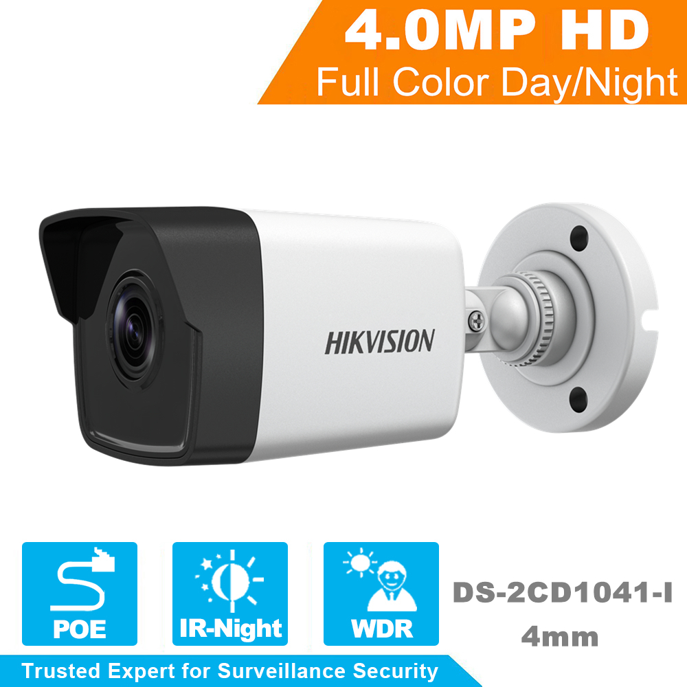 In Stock Hikvision 1080P Full HD Security IP Camera Onvif DS-2CD1041-I 4.0 Megapixels CMOS Network Bullet IP Camera 30m IR hikvision 4mp ip camera ds 2cd3345 i 1080p full hd poe onvif ip camera similar as ds 2cd2432wd i ds 2cd2345 i