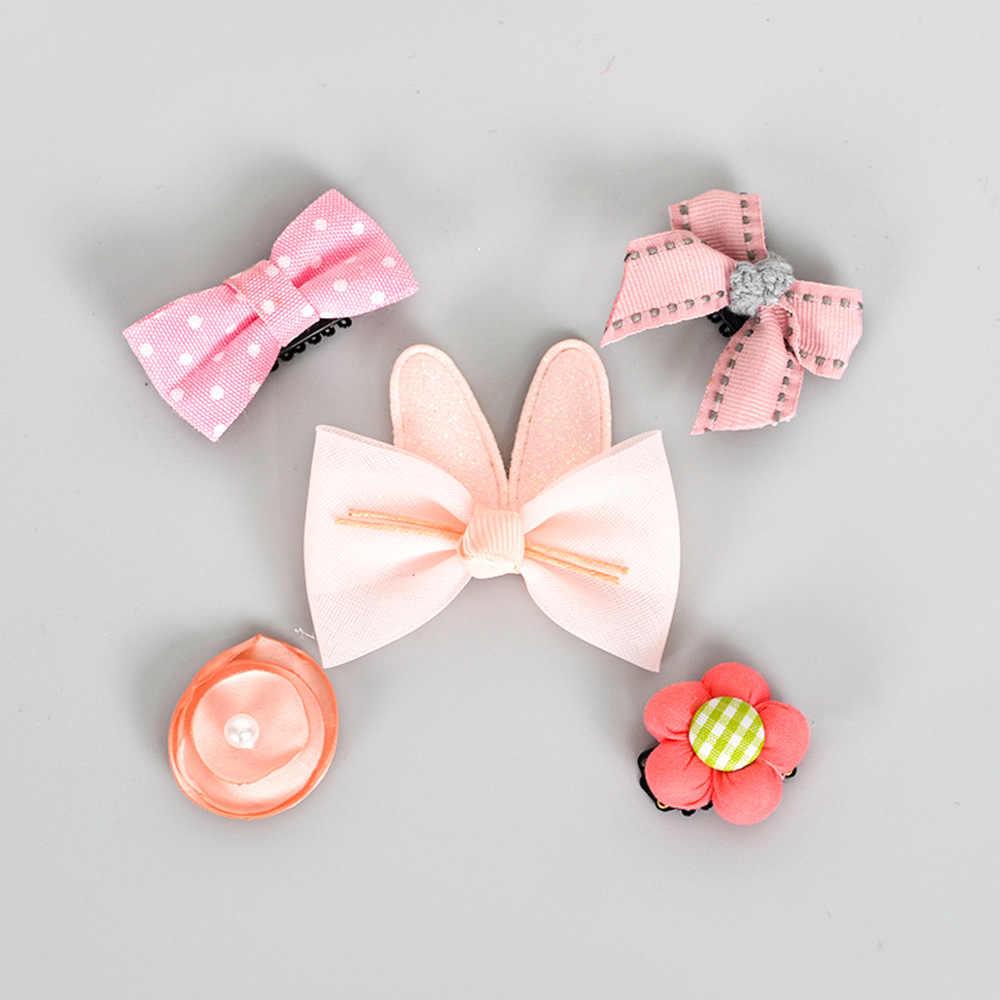 5 ชิ้น/เซ็ตดอกไม้ Bowknot Hairpins เด็กทารกดาว Hairclips การ์ตูนคลิปผมเด็กหญิง handmade Barrettes Bebe อุปกรณ์เสริมผม