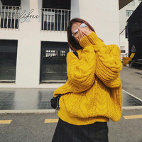 Ordifree 2018 Autumn Winter Oversized Women Sweater Jumper Knitted Pullover Thick Warm Turtleneck Sweater Pull Femme