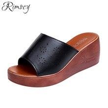 5542497685261 Rimocy 2018 Summer Shoes Woman Platform Slippers Wedge Beach Flip Flops  High Heel Slippers Women Black