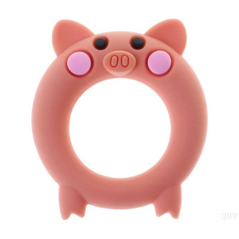 Cute Pig Silicone Teething Beads DIY Baby Chewy Teether Jewelry Making BPA Free