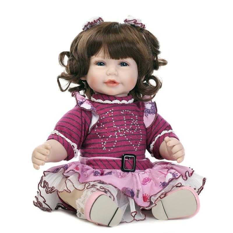 NPK soft bonecas Reborn Silicone Baby Doll baby childrens toys with Purple dress 52cm Lovely princess baby doll girls giftNPK soft bonecas Reborn Silicone Baby Doll baby childrens toys with Purple dress 52cm Lovely princess baby doll girls gift