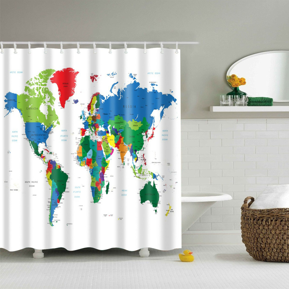 Painted World Map Waterproof Fabric Home Decor Shower Curtain 12hooks 71 71 Shower Curtains Rateshop Home Garden