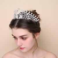 New Crystal Tiara Crown Peacock Swan Bridal Hair Accessories For Wedding Party Pearl Girls Princess Headpieces