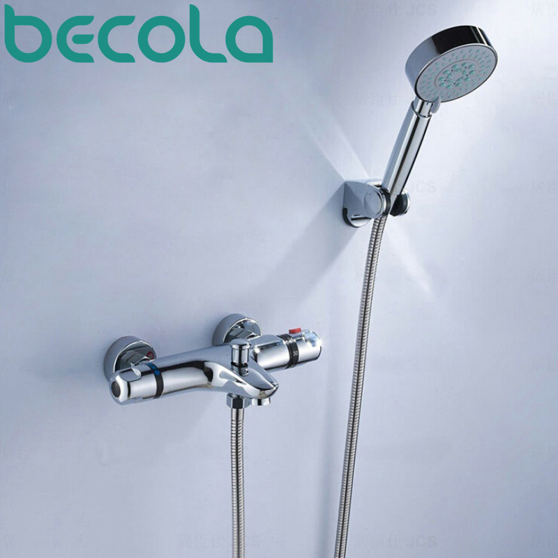 ФОТО Thermostatic shower faucet set auto-thermostat control bathtub faucet bathroom wall mounted hot and cold tap B-H9051