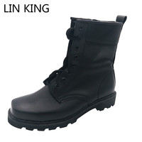 LIN KING New Men Motorcycle Boots Black PU Warm Wool Winter Snow Boots Lace Up High