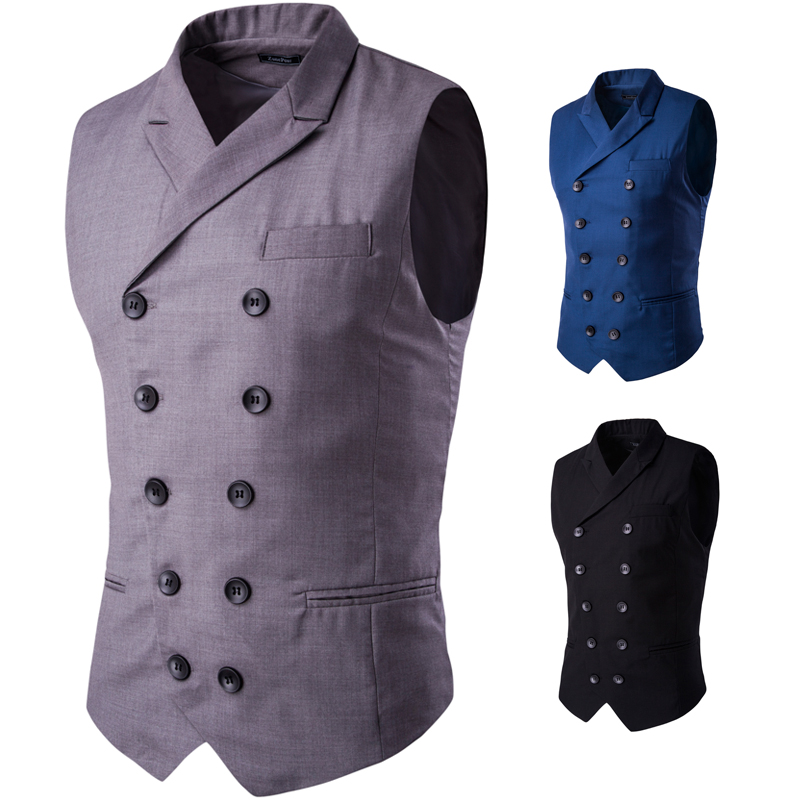 2018 fashion new mens business casual suit waistcoat / Mens Lapel Design Double Breasted Vest