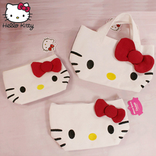цена на 2019 Hello Kitty Bag Hand Bags Handmade Cartoon Hellokitty Bag Lovely Girls Shopping Portable Bow Plush Backpack School Travel