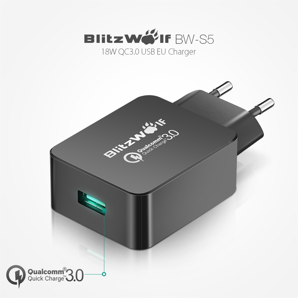 BlitzWolf EU Certified Quick Charge 3 0 18W Micro USB Charger USB Adapter with Power3S For