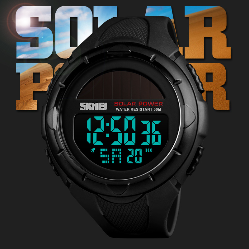 Digital Watches Zk20 Sport Watch Men Clock Men Digital Wrist Watches Top Outdoor Solar Power 12/24 Hour Water Resistant Mens Watch Casual 1405
