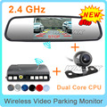"Free Shipping, 4 in 1, Wireless Parking Assistance Car Parking Radar Sensors/Rear View Camera/4.3"" Mirror Monitor/FM transmitter"