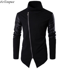 Helisopus Fashion Black Leather Patchwork Turtleneck Jackets Overcoat Men Spring Autumn Punk Motor Coat Men Slim Plus EUR Size