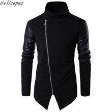 Helisopus moda siyah deri Patchwork balıkçı yaka ceketler palto erkekler İlkbahar sonbahar Punk Motor ceket erkekler ince artı EUR boyutu