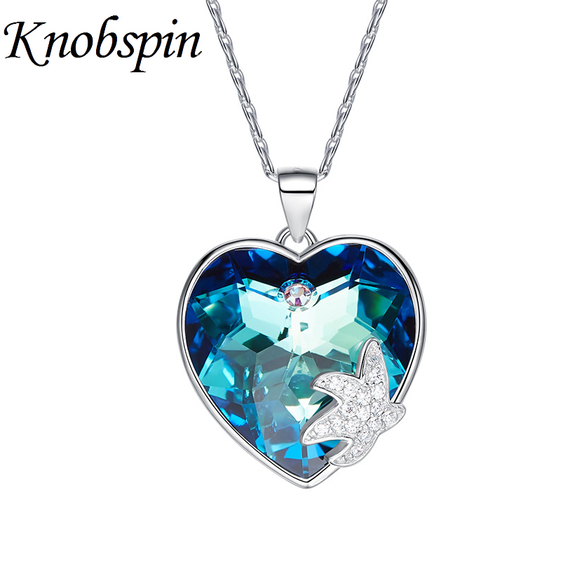 Charming S925 Sterling Silver Starfish Heart Necklace for Women Shiny Blue/White Crystal Pendant Necklace Jewelry bijoux femme charming black lace crochet floral fuax crtstal heart pendant anklet for women