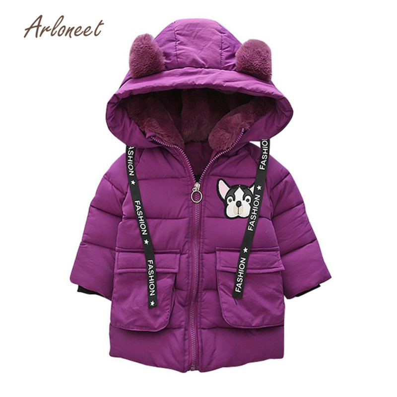 ARLINEET 2018 Baby Toddler Boys Girls Autumn Winter Hooded Coat Cloak Thick Warm Clothes Long sleeve Button Up Collar S3JAN31 trendy lace up long sleeve blue hooded quilted coat for women