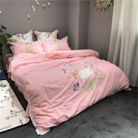 4pcs Luxury cotton bedding set pink duvet cover sets Cartoon style Embroidery Unicorn bed linen bedclothes