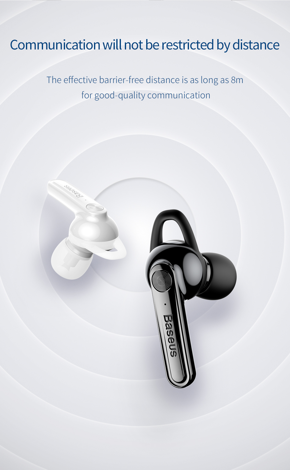 Baseus Magnetic Charging Bluetooth Earphone Single Business Talking Bluetooth Earphones for Phone in Car With Free Charging Base