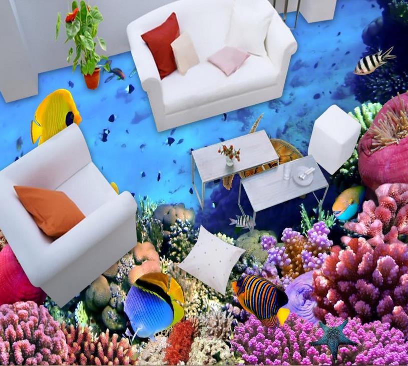 ФОТО 3d floor pvc custom washroom 3d floor ocean world waterproof pvc self-adhesive 3d murals flooring