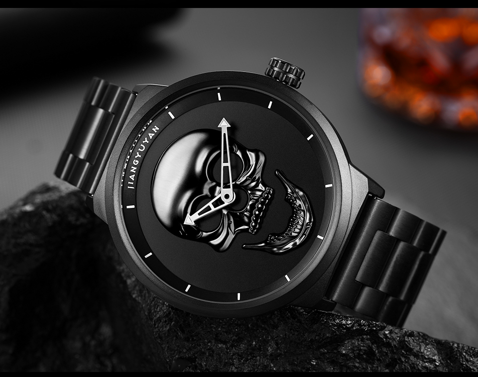 1739-960_03  2018 Scorching Pirate Punk 3D Cranium Males Watch Model Luxurious Metal Quartz Male Watches Retro Trend Gold Black Clock Relogio Masculino HTB1v00Snv9TBuNjy0Fcq6zeiFXaw