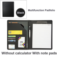 A4 Pu Leather Portfolio conference Folder Clipboard Holder Storage for Legal Wring Pad Multifunctional Business School Office