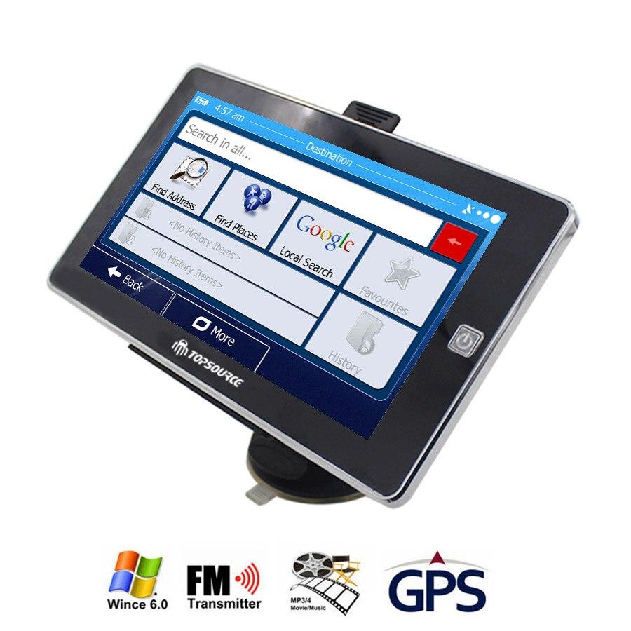 Topsource 7 дюймов автомобиль грузовик GPS навигации навигатор Win CE 6.0 800 мГц fm ddr3 256 м 8 ГБ CE6.0 навител/Европа/США/испанский Географические карты Бесплатная