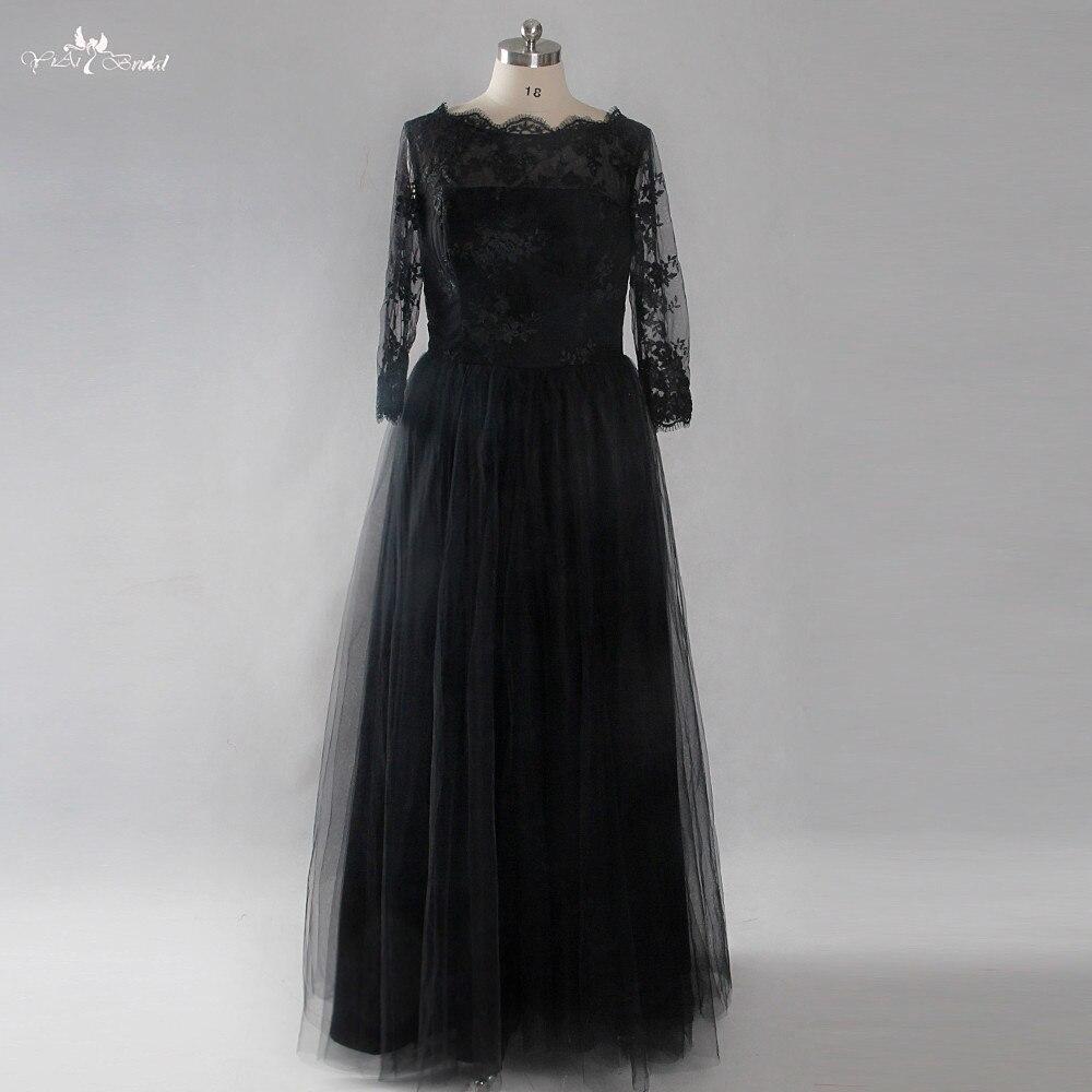 LZF028 élégante dentelle noire longues robes De soirée 2018 nouvelles robes De bal Robe De soirée grande taille Robe De soirée Robe De Festa