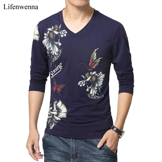 dce2aa9b0 2019 New Fashion Brand Mens T Shirt Butterfly Print V Neck Long Sleeve T  Shirt Men Slim Fit Casual Mens Cotton Tee Shirt 5XL
