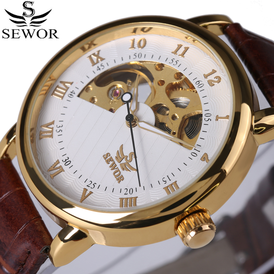 2017 New SEWOR brand luxury Mens watches Automatic mechanical Skeleton watch leather clock Casual business wristwatch relojes fashion automatic mechanical watch luxury brand sewor watches skeleton military clock leather men casual erkek kol saatleri