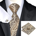 2016 Moda Burlywood Marrom Novelty Tie Hanky Abotoaduras 100% Gravata de Seda Laços Para Homens de Negócios Formal Wedding Party C-580