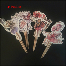 flying wings fairy party decoration topper cake flags children girls birthday cake decorating supplies flower fairy cake topper цена