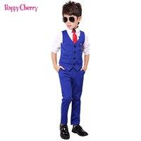 Fashion Boy Suit for Weddings Prom Party 2T 11Y Children Slim Fit Suit Sets Boys Tuxedo Formal Vest Pants Classic Costume Black