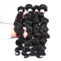 Loose Wave Peruvian 4 PCS Human Hair Weave Bundles Remy Natural Color 100% Human Hair Extensions Sunny Queen Hair Products