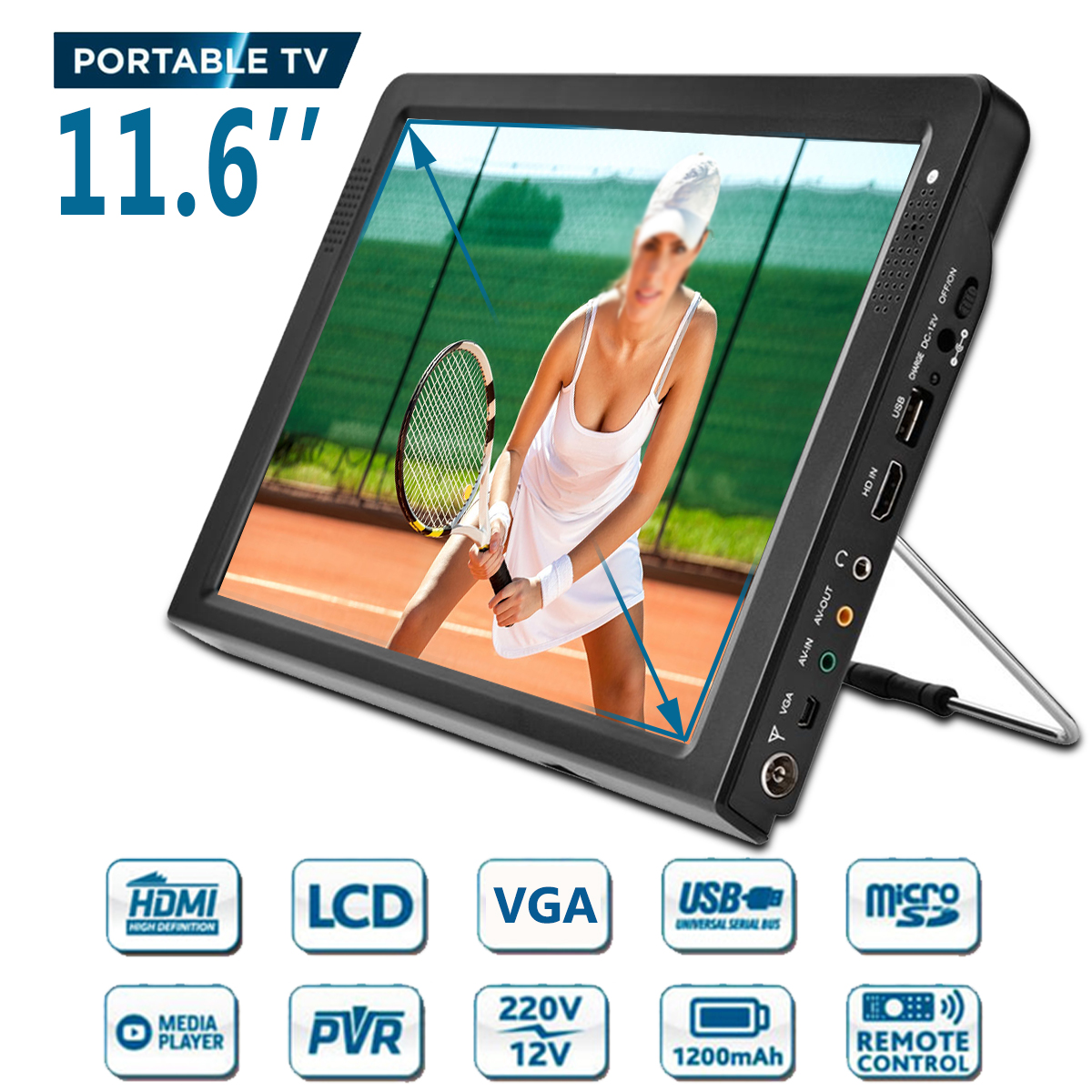 11.6 pouces HD Portable DVB-T-T2 Mini et numérique couleur analogique LED TV lecteur de télévision prise en charge TFT-LED écran HDMI entrée pour voiture