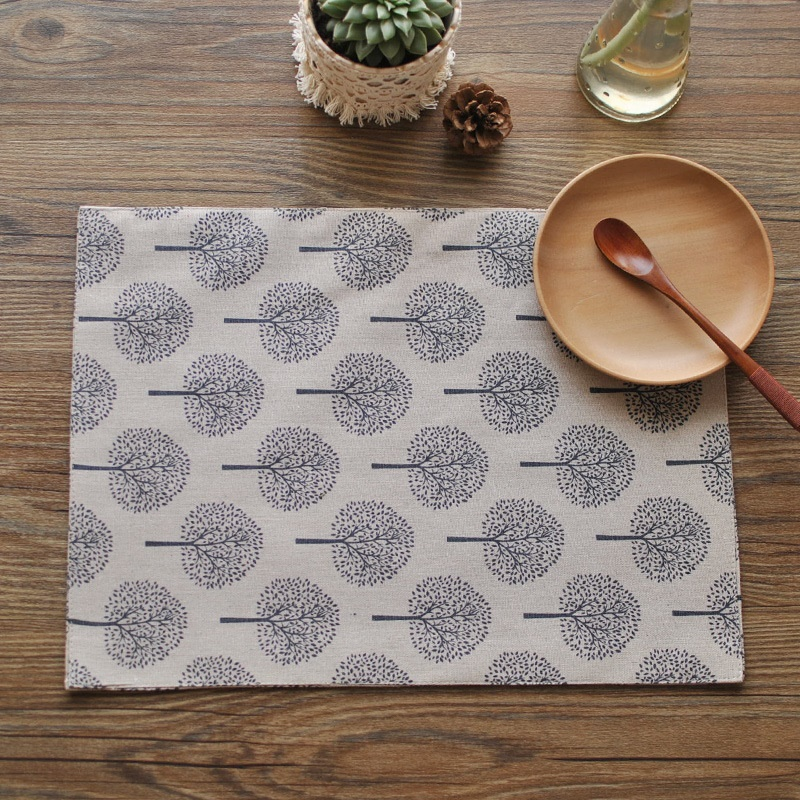 DREAMSOULE Mats Tree Pattern Cotton Double Sides Basic Everyday Meal Napkin Placemat For Dining Table - 40x30cm