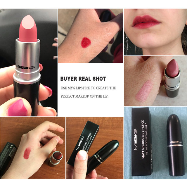 Top Quality MYG Matte Lipstick professional Lips Makeup Long-lasting Waterproof  Lipstick Red Nude ruby woo honey love Lipstick 2