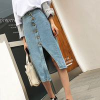 2019 Medium Long Split Denim Skirt Women High Waist Front Buckle Skirts Irregular Light Blue White Casual Streetwear OL Lady
