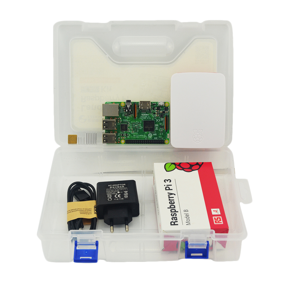 цена на Raspberry Pi 3 kit  Raspberry Pi 3 Model B + Case + EU power plug + USB Cable + 16G micro SD card + heat sink