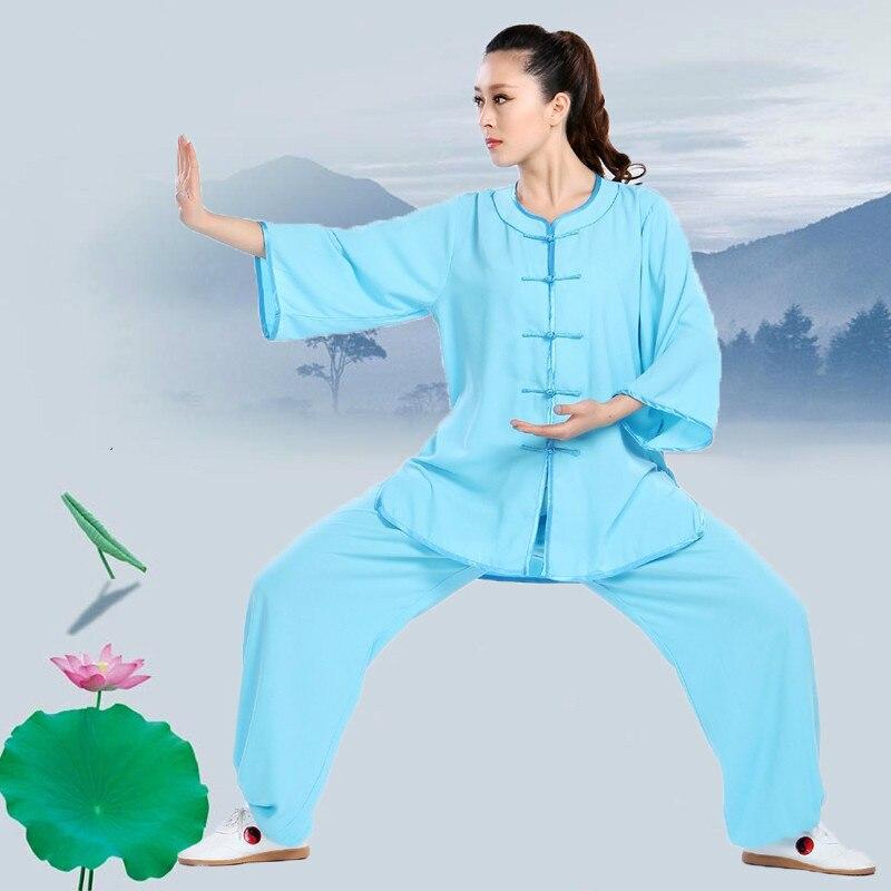 Высокое Качество Тай-Чи одежда с коротким рукавом Кунг-фу Униформа боевые искусства Утренние упражнения костюм Ушу Одежда