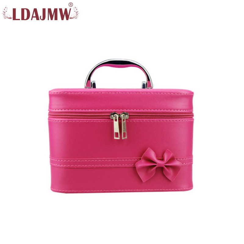 LDAJMW PU Leather Ladies Cosmetic Bag Travel Portable Cosmetics Storage Box Organizer Womens Makeup Case