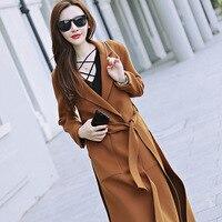 חדש קוריאני נשי מעיל צמר פנים כפול מעיל צמר דק ארוך באורך הברך