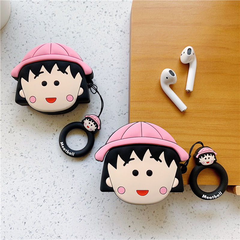 Bluetooth Earphone Case for Airpods Accessories Protective Cover Bag Anti-lost Ring Strap Cute Cartoon Silicone 3D Sakura Momoko