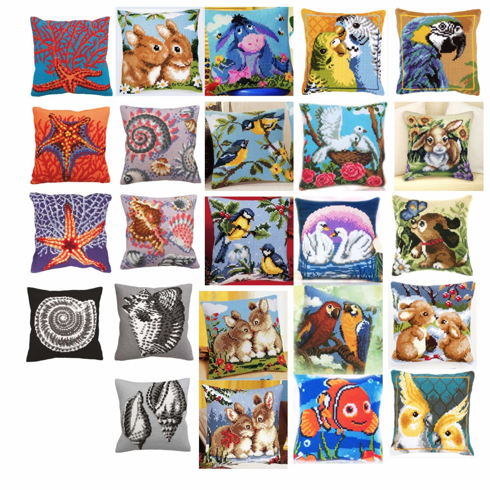 animals 5 style Cross Stitch Pillow Mat DIY Craft Tapestry Pillow 42CM by 42CM Needlework Crocheting Cushion Embroidery