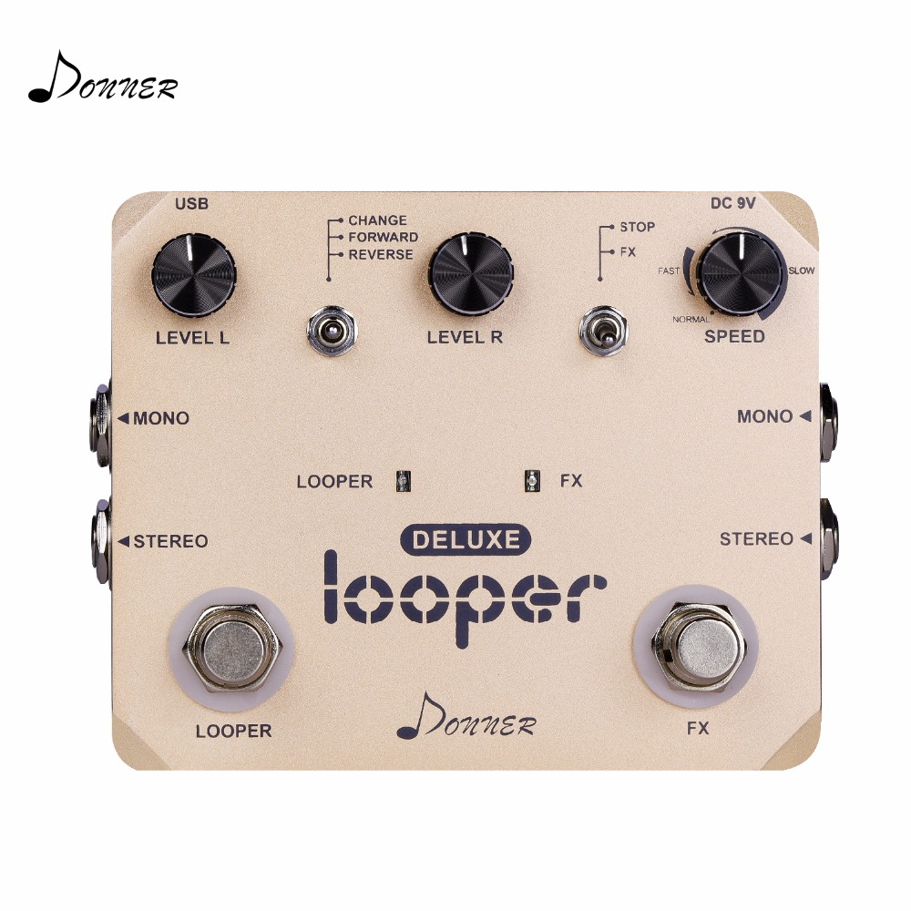 Donner Deluxe Looper Guitar Effect Pedal 10 minutes of looping Unlimited overdubs Loop Station