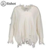 Sishot Women Casual Knitwear 2017 Autumn Winter White Plain Long Sleeve Tassel V Neck Worn Loose