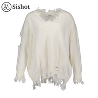 Sishot Women Casual Knitwear 2017 Autumn Winter White Plain Long Sleeve Tassel V Neck Worn Loose