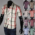 Free shipping 2017 new sping summer men's plaid short sleeve shirt male lovers shirt for male